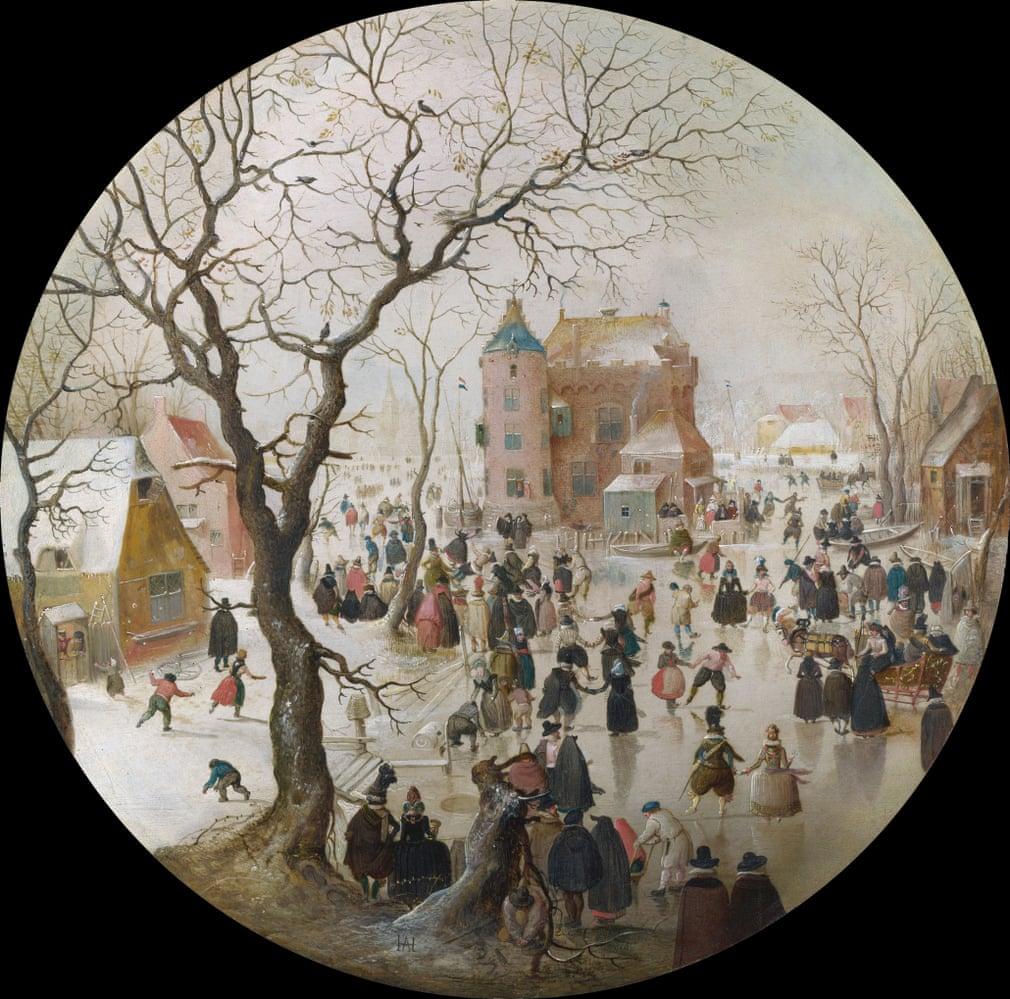 Hendrick Avercamp (1608-9): Téli tájkép korcsolyázókkal egy kastély mellett