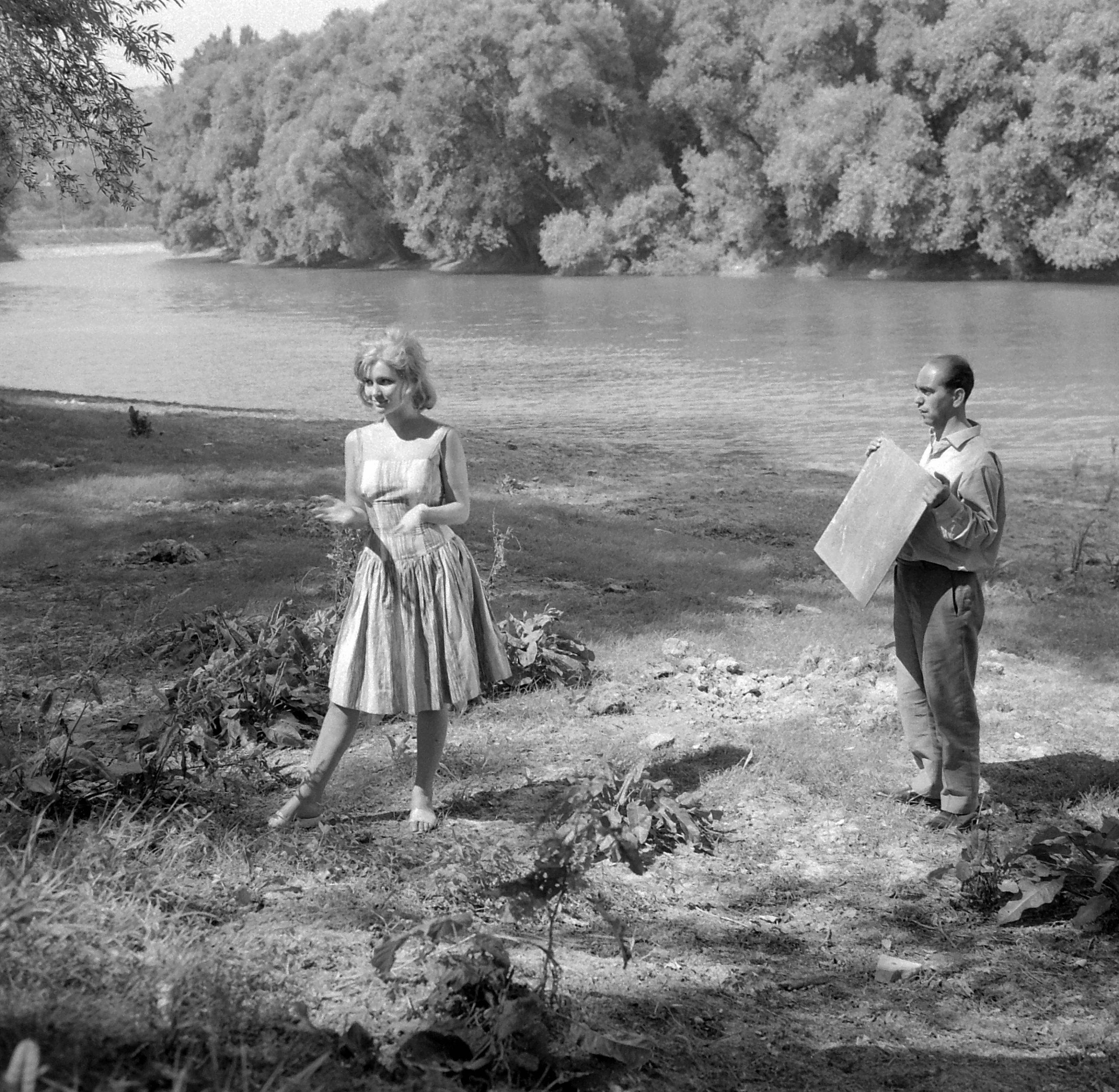 Sólyom-sziget. Pécsi Ildikó színművésznő az Aranyember című film forgatásán 1962-ban Fortepan/Kotnyek Antal
