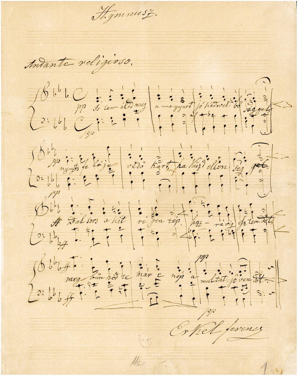 A Himnusz kottája