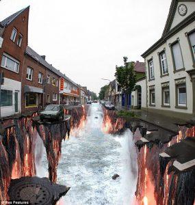 Elképesztő folyó festmény az út közepén