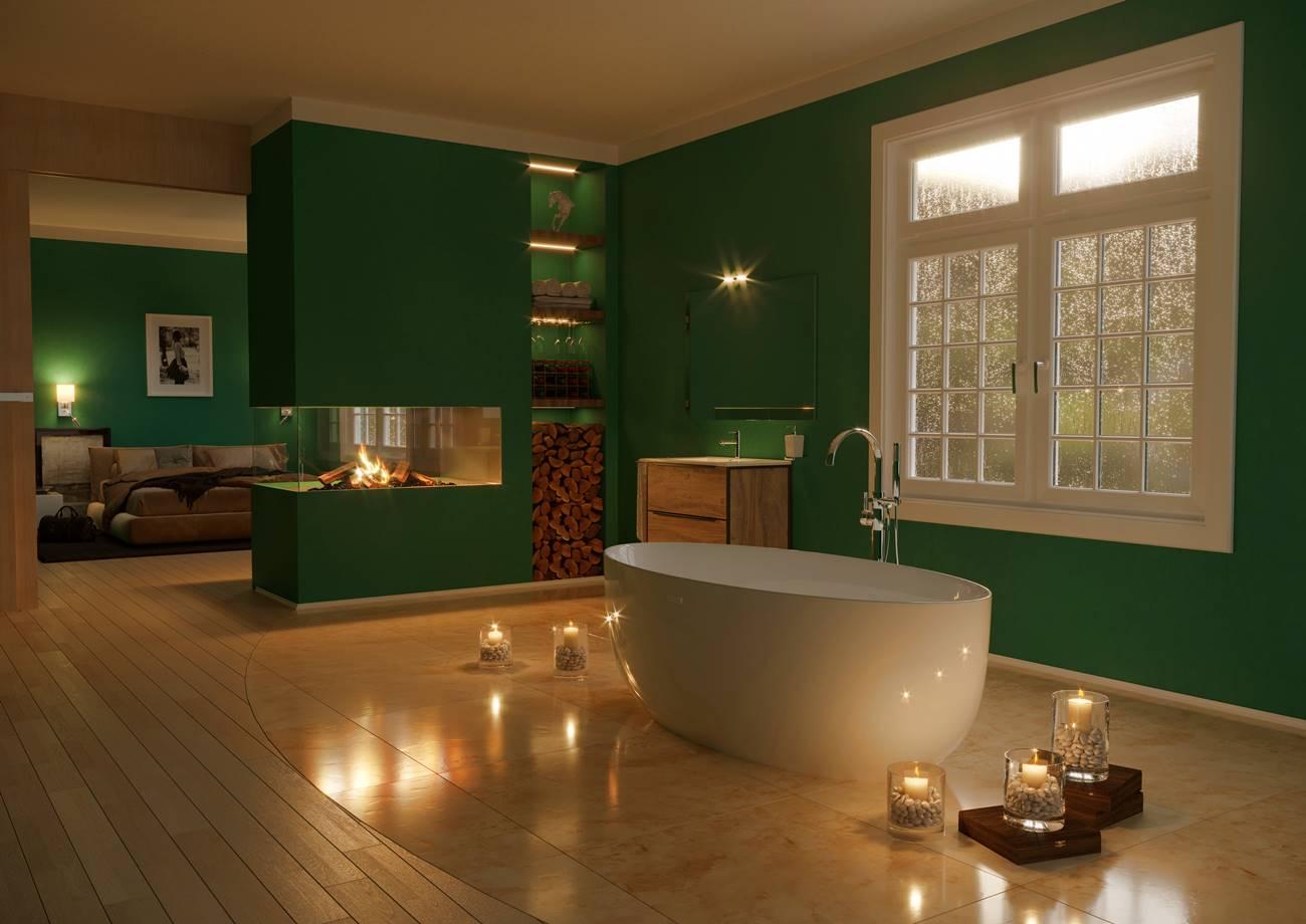 jól mutat a tapéta a fürdőszobában