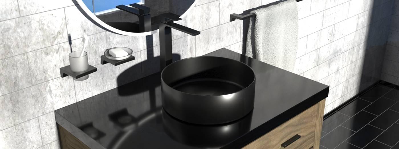 Látványos a matt és fényes, valamint világos és sötét elemek váltakozása a fürdőszobában