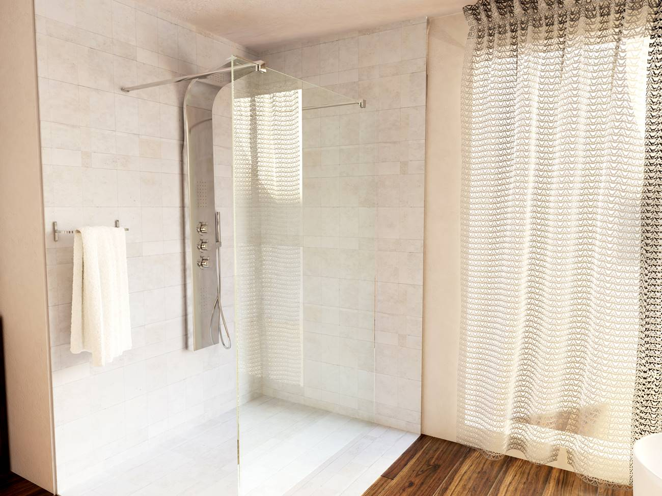 walk in zuhanyfal padlólefolyóval