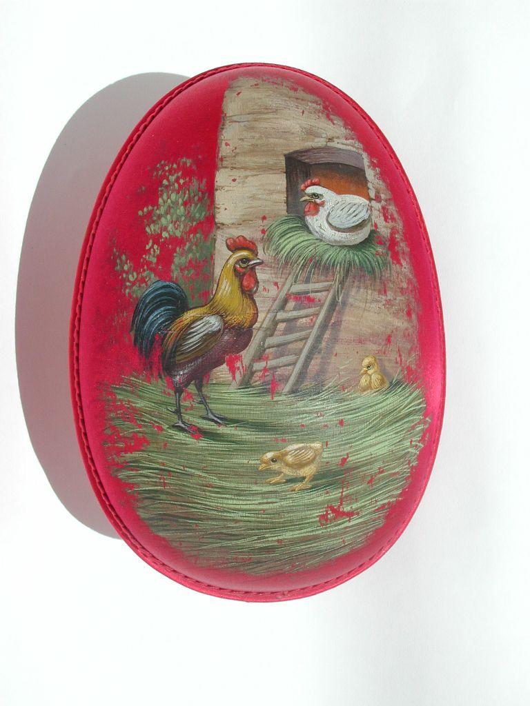 Atlaszselyem és papírmasé húsvéti tojás - 1882 után - IM