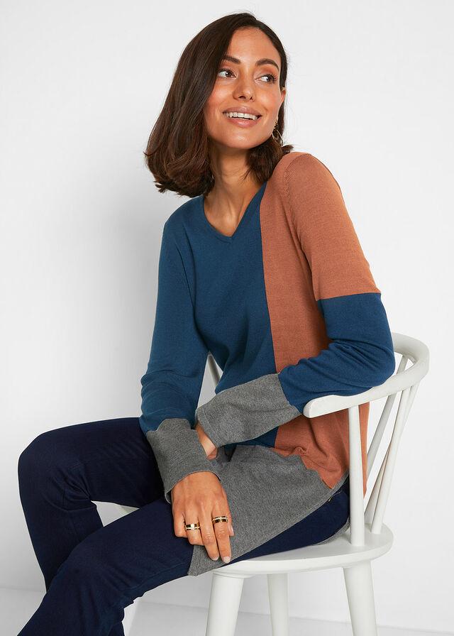 kontrasztos pulóver